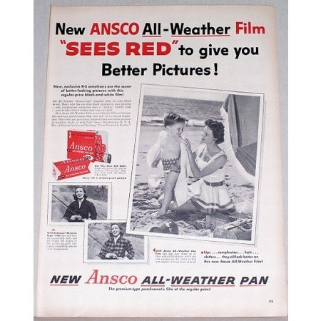 1955 Ansco All Weather Pan Film Vintage Print Ad - Sees Red