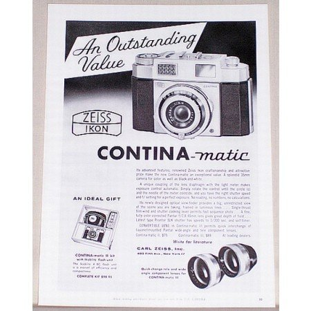 1959 Zeiss Ikon Contina Matic 35mm Camera Vintage Print Ad