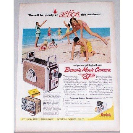 1955 Kodak Brownie Movie Camera Color Print Ad