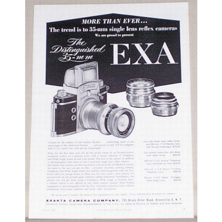 1957 Exa 35mm Reflex Camera Vintage Print Ad - The Distinguished 35mm