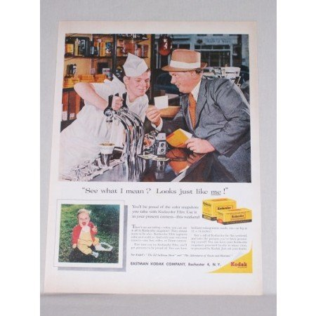 1958 Kodak Kodacolor Film Soda Jerk Color Print Ad