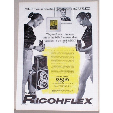 1957 Super Ricohflex Camera Vintage Print Ad - Which Twin Is Shooting