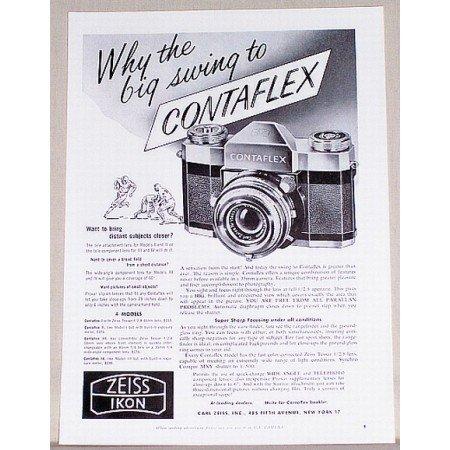 1957 Zeiss Ikon Contaflex 35mm Camera Vintage Print Ad