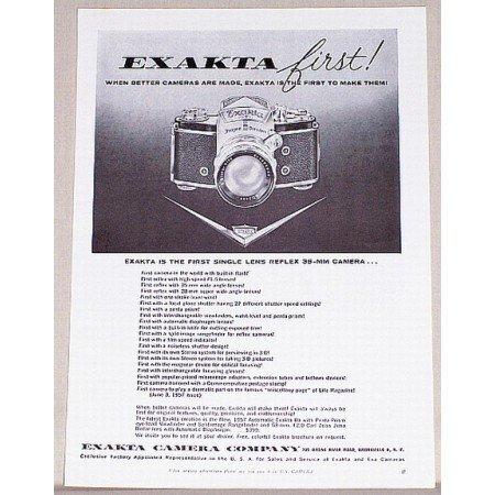 1957 Exakta Automatic IIa Camera Vintage Print Ad - Exacta First!