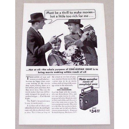 1937 Cine Kodak Eight Movie Camera Vintage Print Ad