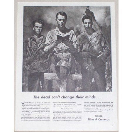 1945 Ansco Films Cameras Wartime WWII Vintage Print Ad - Dead Can't Change