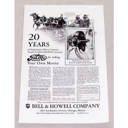 1927 Bell Howell Filmo Automatic Movie Camera Vintage Print Ad