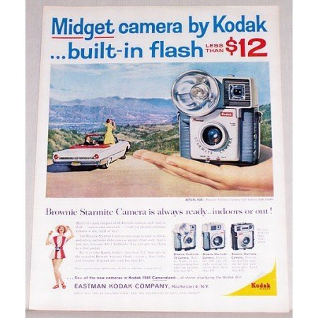 1961 Kodak Starmite Camera Built In Flash Holder Color Print Ad