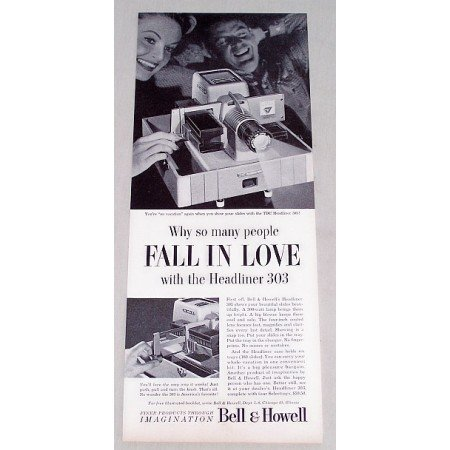 1956 Bell Howell Headliner 303 Slide Projector Vintage Print Ad