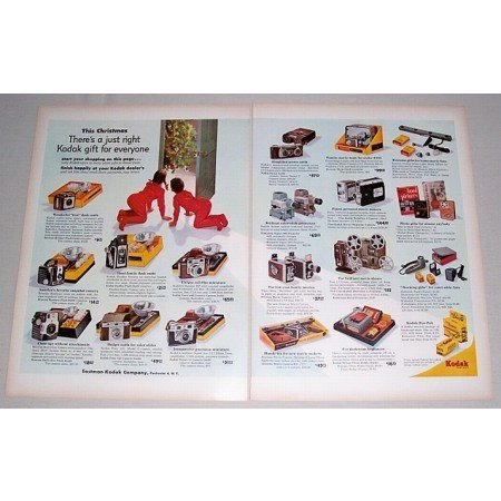 1955 Kodak Photo Movie Cameras Color 2 Page Color Print Ad