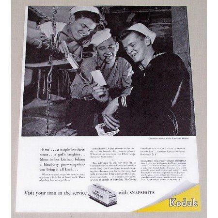 1945 Kodak Verichrome Film Navy Men Wartime WWII Vintage Print Ad