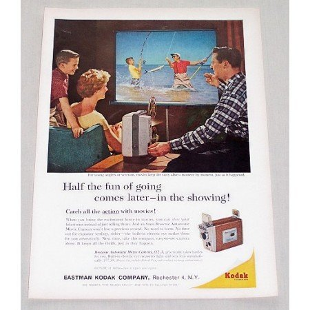 1961 Kodak Brownie Automatic Movie Camera Fishing Color Print Ad