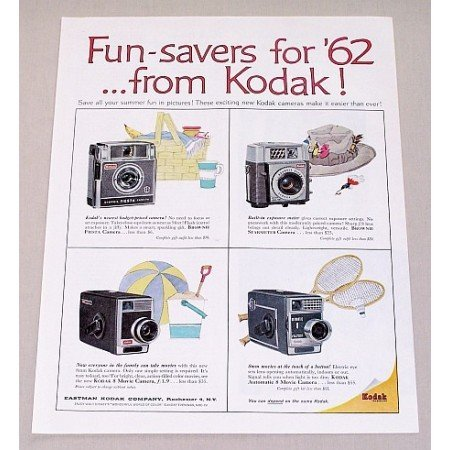 1962 Kodak Brownie Cameras 8 Movie Camera Color Print Ad