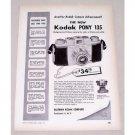 1950 Eastman Kodak Pony 135 Camera Vintage Print Ad - Field Case