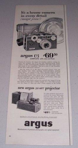 1954 Argus C3 Camera 300 Watt Projector Vintage Print Ad