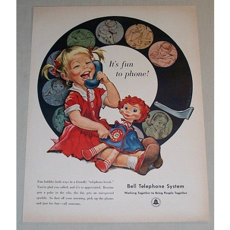 1958 Bell Telephone System Girl Baby Doll Color Art Ad - Fun To Phone