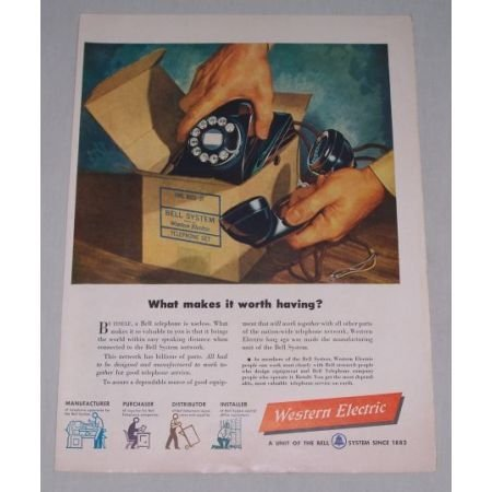 1949 Western Electric Telephone 302G-3F Phone Color Print Art Ad