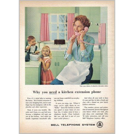 1959 Bell Telephone System Kitchen Extension Phone Color Print Ad