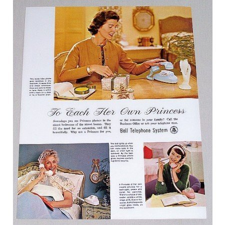 1961 Bell Telephone System Princess Phones Color Print Ad