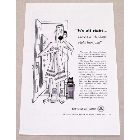 1955 Bell Telephone System Art Vintage Print Ad - It's All Right...