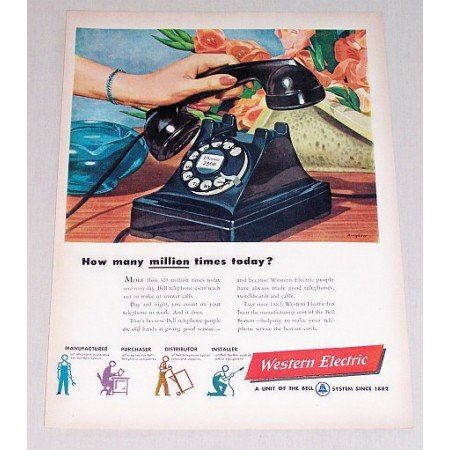 1948 Western Electric Telephone Bingham Art Color Print Ad