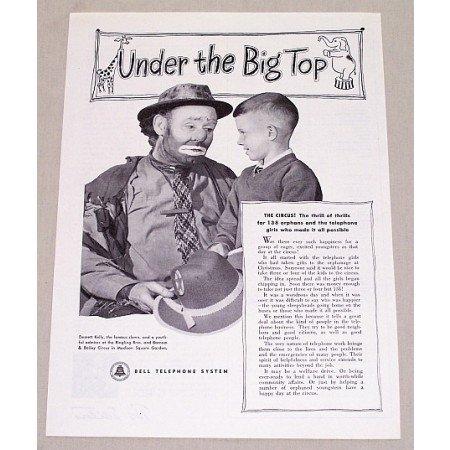 1949 Bell Telephone Vintage Print Ad Celebrity Clown Emmett Kelly