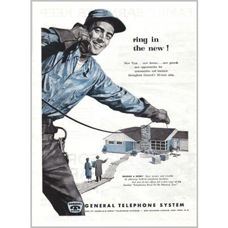 1957 General Telephone System Vintage Print Art Ad - Ring In The New!