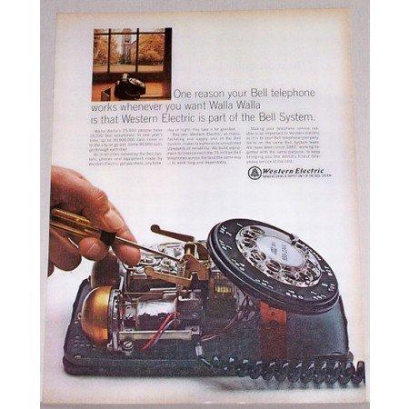 1966 Western Electric Bell Telephone Color Print Ad - Walla Walla