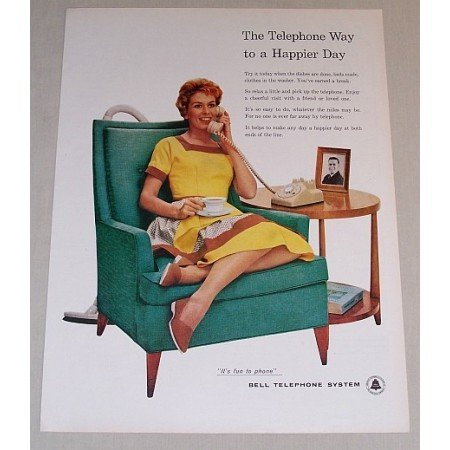 1958 Bell Telephone System Color Print Ad - Happier Day