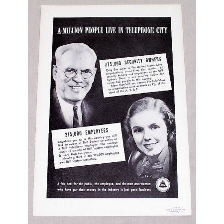 1937 Bell Telephone System Vintage Print Ad - Live In Telephone City