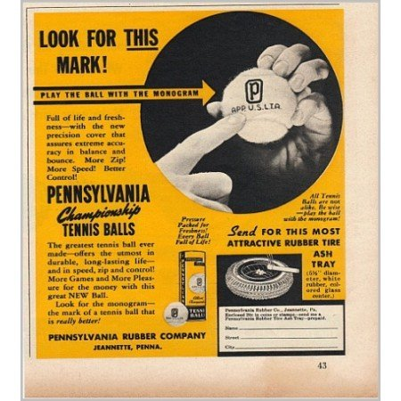 1940 Pennsylvania Championship Tennis Balls Vintage Print Ad