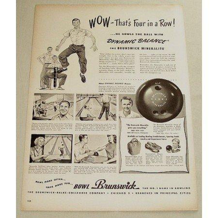 1948 Brunswick Mineralite Bowling Ball Vintage Print Ad