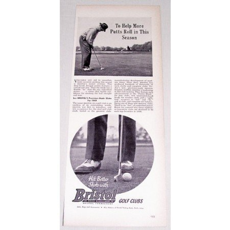 1949 Bristol Dandy Putter Golf Vintage Print Ad - Help More Putts Roll