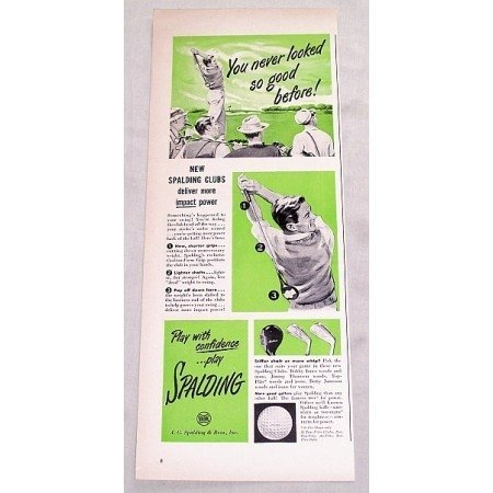 1949 Spalding Golf Clubs Vintage Print Ad - Never Looked So Good!