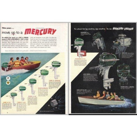 1952 Mercury Outboard Boat Motors 2 Page Color Print Ad
