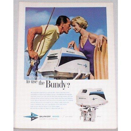 1962 Bundy 500cc 30HP Outboard Motor Color Print Ad