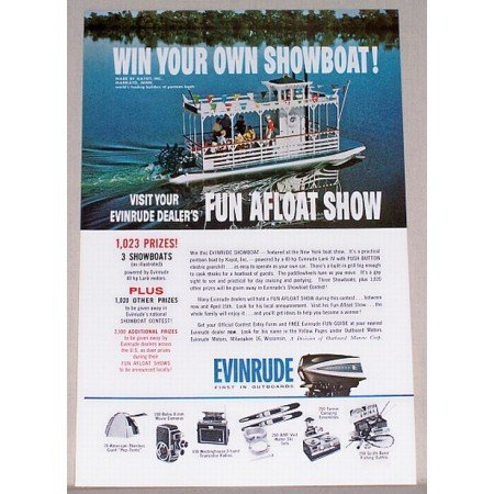 1961 Evinrude Outboard Motor Color Print Ad - Win A Showboat