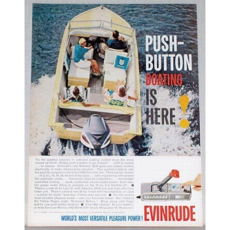 1961 Evinrude Outboard Color Print Ad - Push Button Boating