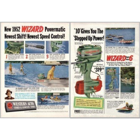 1952 Wizard Powermatic Super 10 Outboard Motor 2 Page Color Print Ad