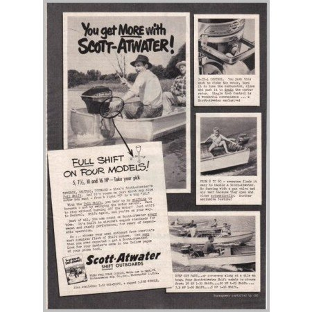 1952 Scott Atwater Full Shift Outboard Boat Motors Vintage Print Ad