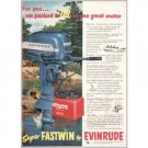 1952 Super Fastwin Evinrude Outboard Boat Motor Color Print Ad