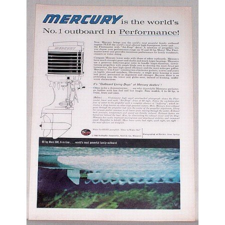 1960 Mercury 800 Outboard Motor Color Print Ad - Outboard Days