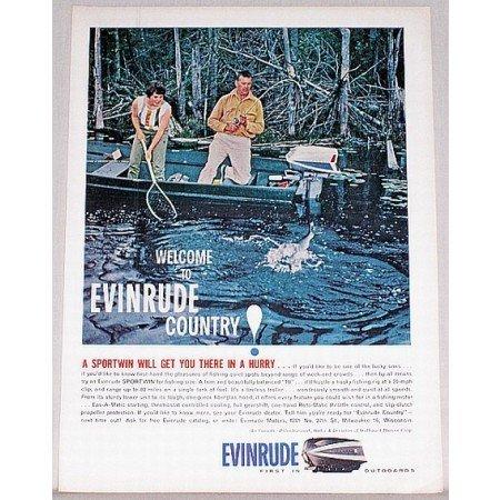 1961 Evinrude Sportwin Outboard Motor Fishing Boat Color Print Ad