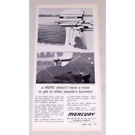 1961 Mercury 9.8 HP Outboard Motor Vintage Print Ad