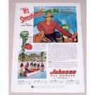 1952 Johnson Sea Horse Motor Color Print Ad Celebrity Gary Cooper