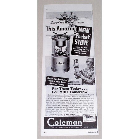 1944 Coleman Pocket Stove Wartime WWII Vintage Print Ad Out Of The War