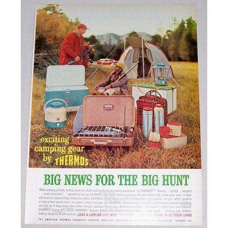 1961 Thermos Brand Camping Gear Color Print Ad - Big Hunt