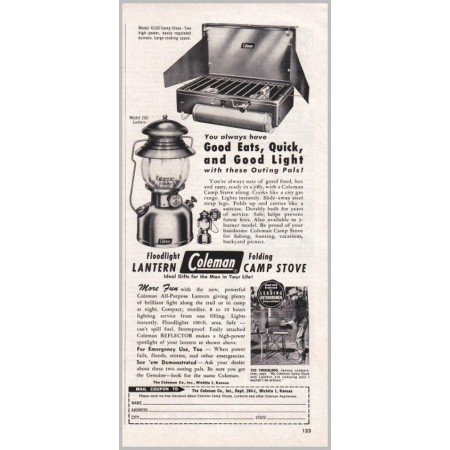 1952 Coleman Floodlight Lantern and Camp Stove Vintage Print Ad
