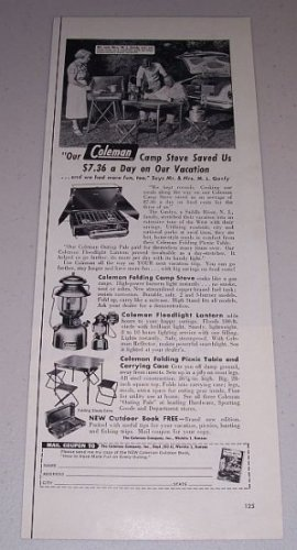 1954 Coleman Camp Stove Camping Products Vintage Print Ad