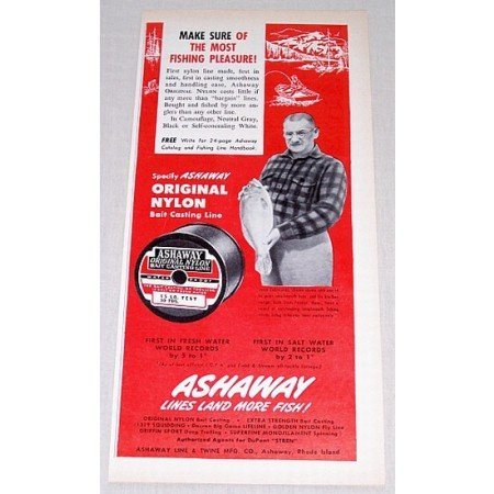 1960 Ashaway Bait Casting Fishing Line Color Print Ad